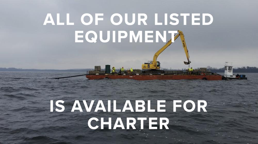 tugs and barges, landing craft, workboats, excavator, Seaway Marine Group, Clayton, New York