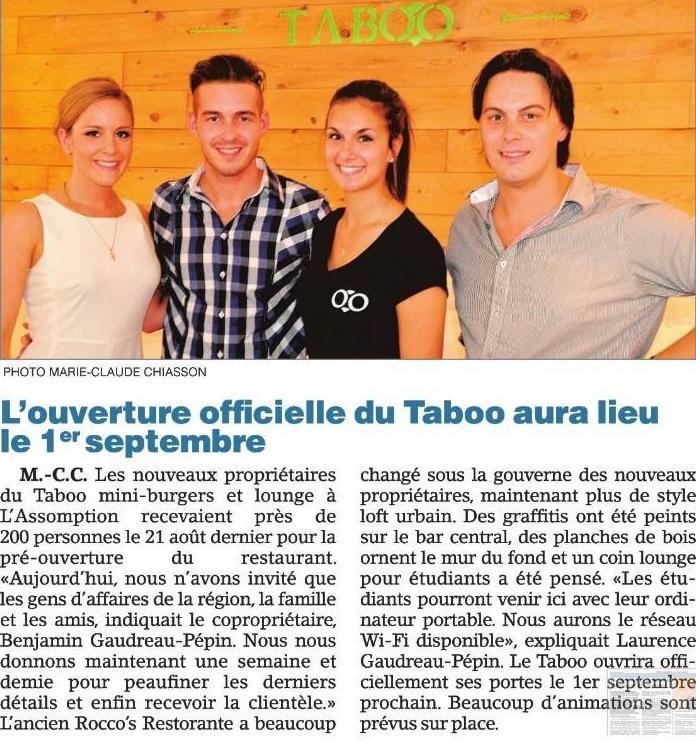 Août 2013 / Premier article sur TABOO Cuisine Rebelle dans l'Hebdo Rive-Nord