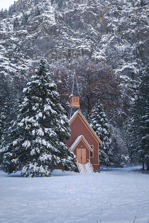 Chapel under snow