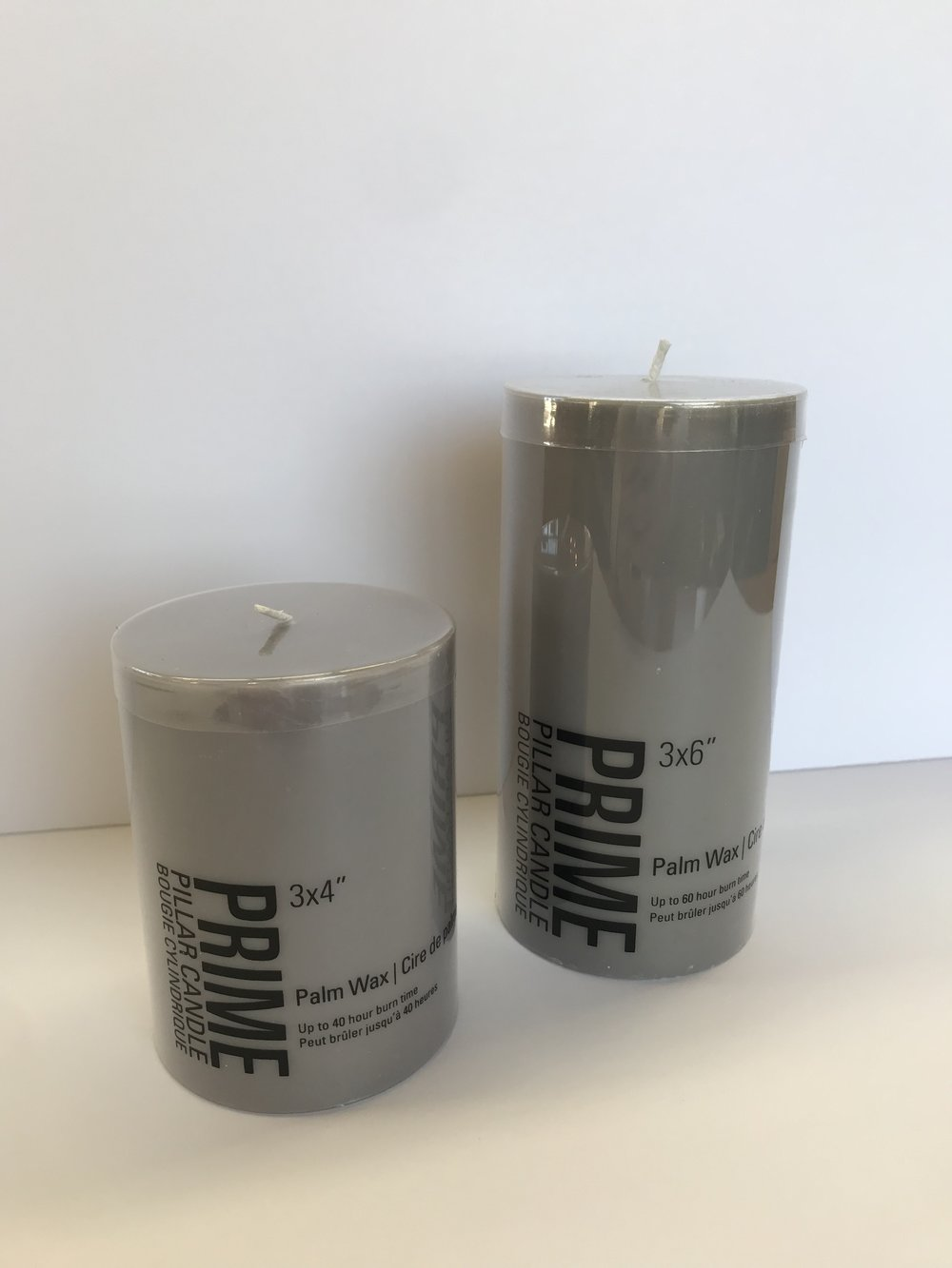 Tall + Short Pillar Candles (Unscented) - Colour:  Warm Gray   Dimensions:  Available in 3