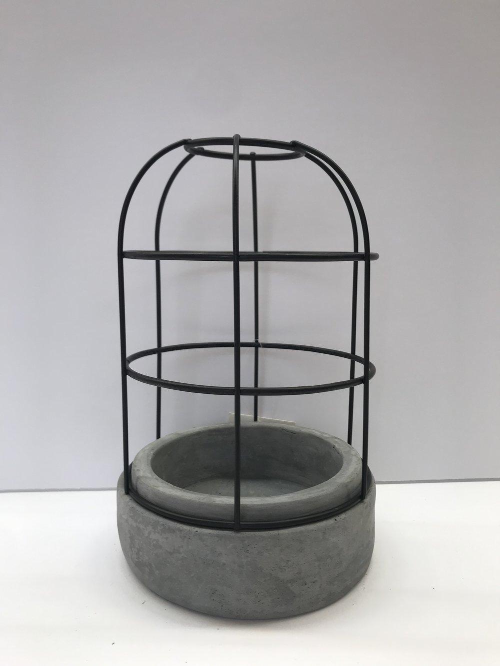Metal + Cement Cloche - Colour:  Black + GrayDimensions:  5