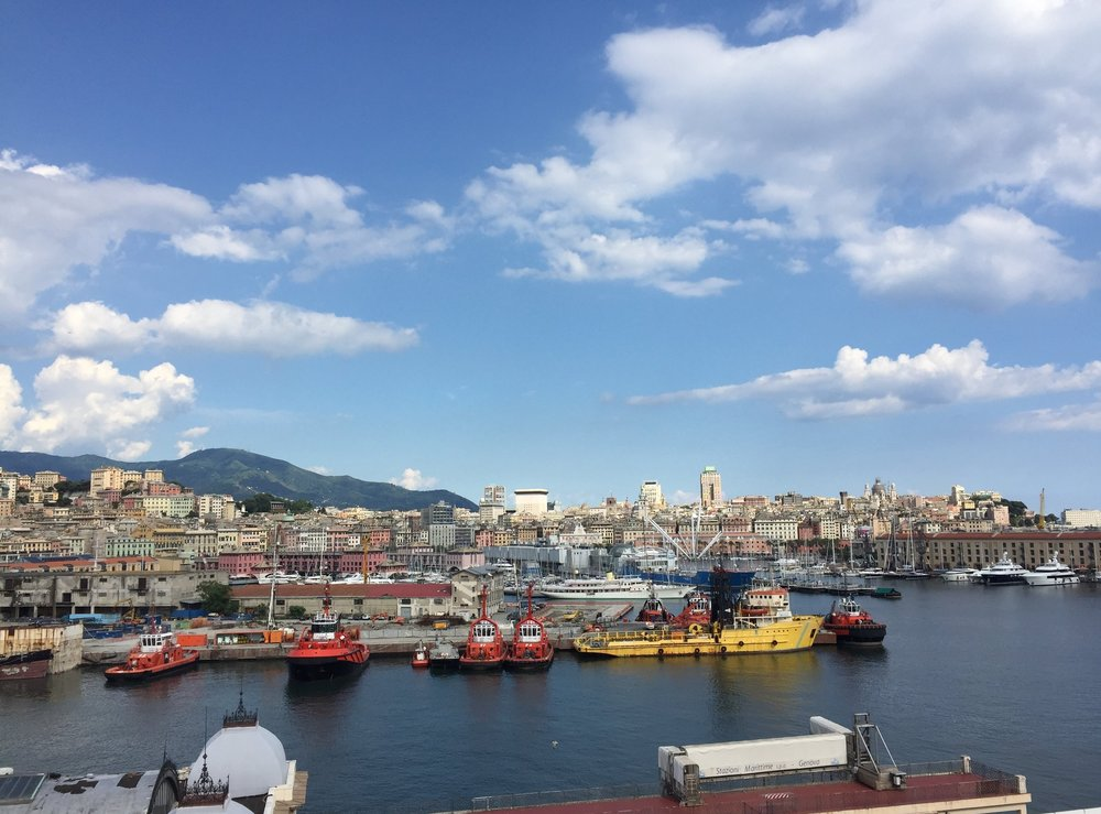This is a photo from a previous visit to Genoa, when the weather was a bit better!