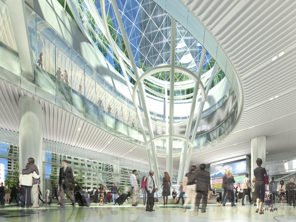 """TransBay Transit Center - Known as the """"Grand Central"""" of the West, the new $2.2 billion transit center connects 8 Bay Area counties and 11 transit systems.Owner: TransBay Transit AuthorityArchitect: Pelli Clarke Pelli ArchitectsGC: Webcor Obayashi JVFramer: GiampoliniOur Scope: BIM Manager for interiors, 3D modeling for misc. metals, ACT, Terricotta exterior panels, shop drawings, framing layout plans"""