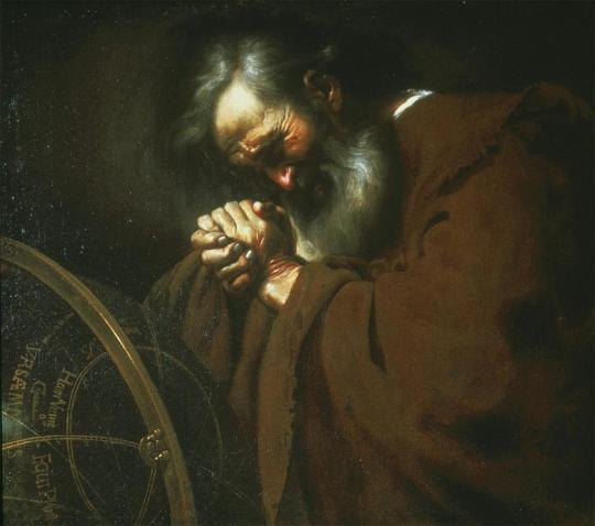 Heraclitus wringing his hands over the world.  Heraclitus, the Weeping Philosopher by Johannes Moreelse