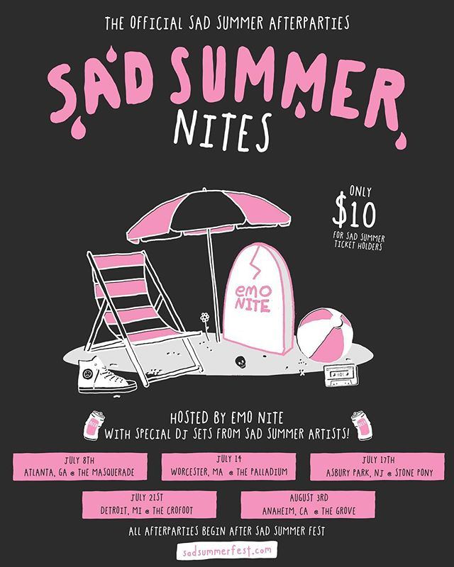 We are excited to announce that @emonitela and Sad Summer Artists will be throwing a couple after parties for you this summer! ⠀⠀⠀⠀⠀⠀⠀⠀⠀⠀⠀ ⠀⠀⠀⠀⠀⠀⠀⠀⠀⠀⠀ ⠀⠀⠀⠀⠀⠀⠀⠀⠀⠀⠀ Sad Summer ticket holders will receive an email to add on a ticket for the parties today for only $10. ⠀⠀⠀⠀⠀⠀⠀⠀⠀⠀⠀ ⠀⠀⠀⠀⠀⠀⠀⠀⠀⠀⠀ General tickets go on sale this Friday!