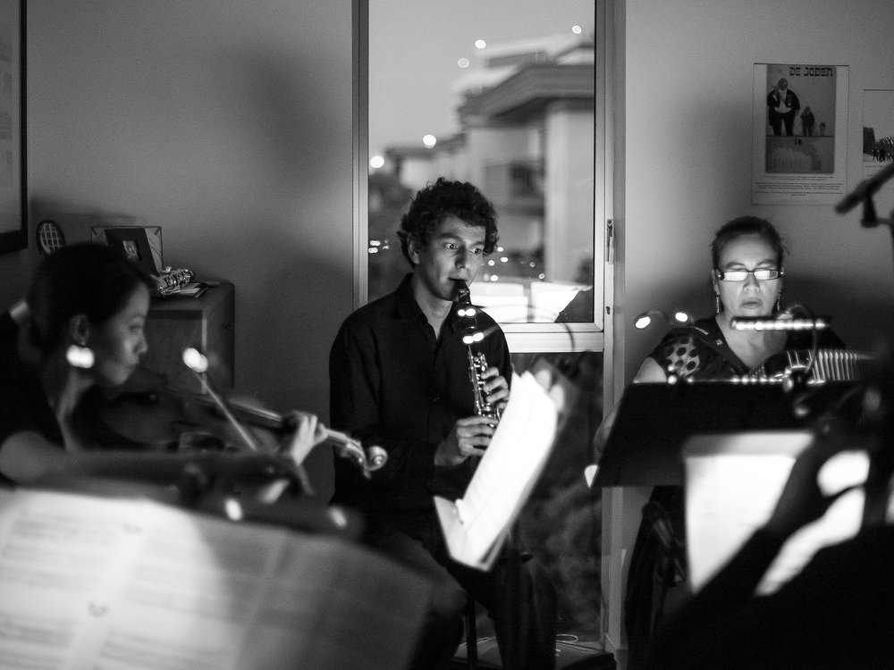 Meeting the Ghosts  at The Lab, May 2015. An ensemble of five players (violin, cello, clarinet, accordion, piano), we play an original score, live to picture, and music written by Dutch Jewish composers suppressed by the Holocaust.