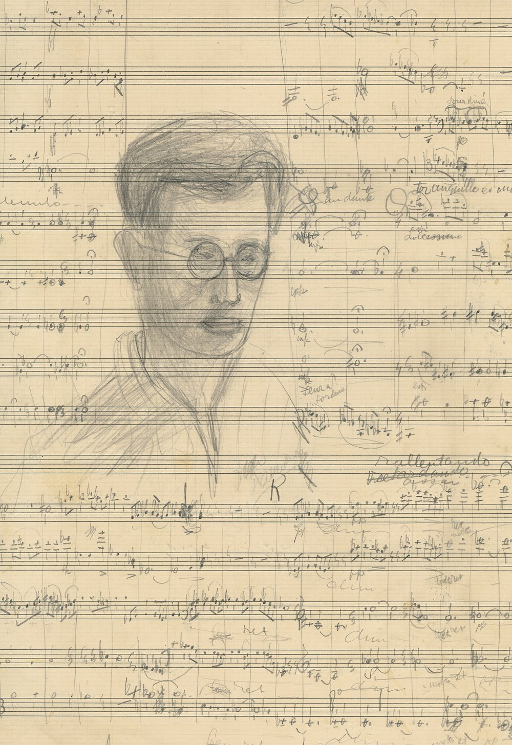Self portrait by a young Dutch Jewish composer named Dick Kattenburg. While in hiding, he received clandestine composition lessons via post from another Jewish composer. Dick would only hear one of his pieces performed in his lifetime.