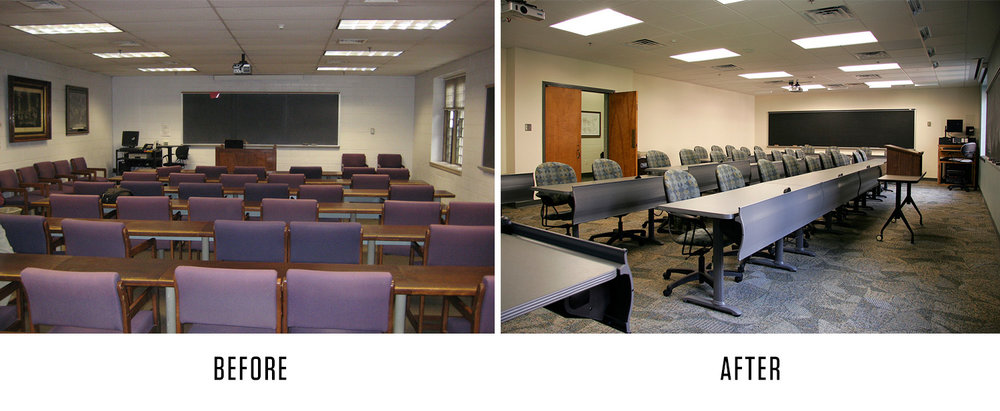 By changing the orientation of the room and incorporating ergonomic seating, this law school classroom feels more like the workforce that students will be entering and facilitates higher class engagement and professionalism.