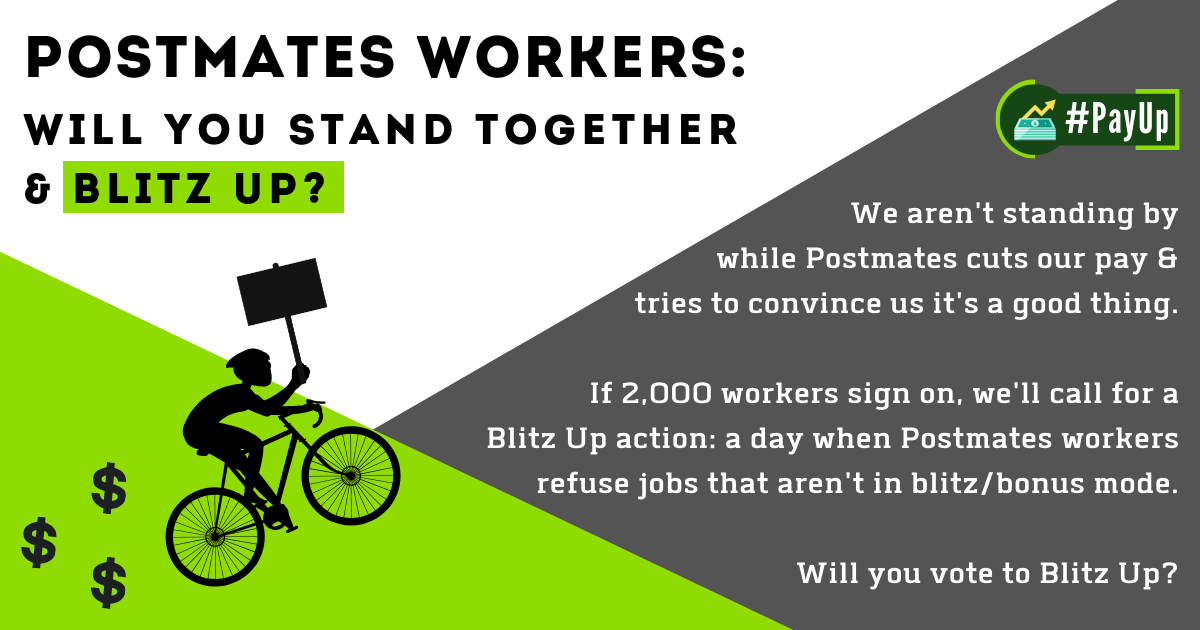 Postmates workers are fighting back — #PayUp