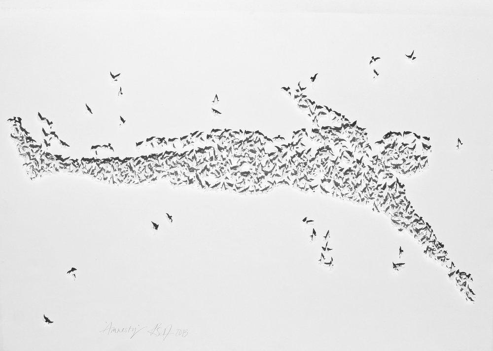 Amnesty  87cm x 67cm Foamcore, watercolour paper, pins