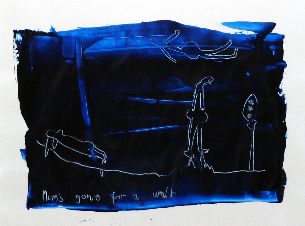 Mum's Gone For A Walk  32cm x 12cm Ink on foam board