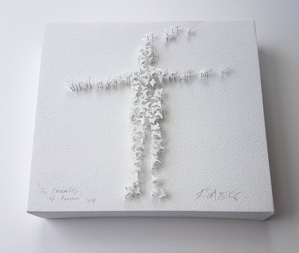 The Possibility of Heaven  20cm x 20cm Canvas, pins paper.