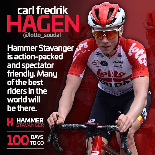 Today, there are only 100 days to the start of @HammerStavanger. We hope to see you there! The lineup will be spectacular👌  @lotto_soudal @cfhagen #HammerSeries #HammerStavanger #procycling #cycling #bikelife #racing #stavanger #bike
