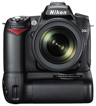 Nikon D90 with MB-D80 Multi-Power Battery Pack