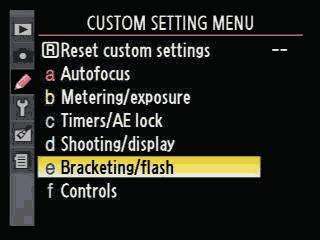 Nikon D90 Bracketing Menu