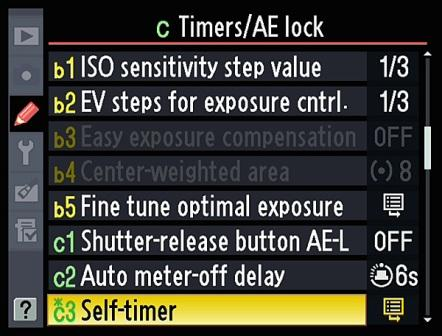 Nikon D90 Self-Timer Mode Menu