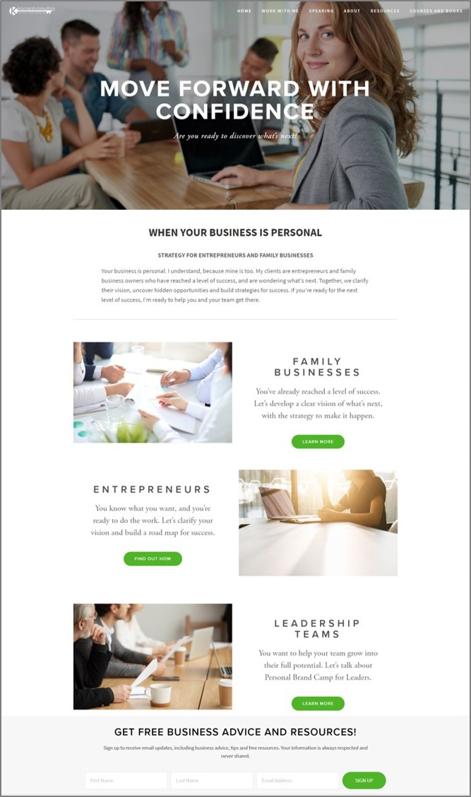 Design a website that visually communicates the clarity that comes from strategic planning and leadership development. And while you're at it, structure the pages and content in a way that speaks to a mixed audience of family business owners, entrepreneurs and   corporate leadership teams. That was the challenge for this website project. Mission accomplished!    krismarshconsulting.com
