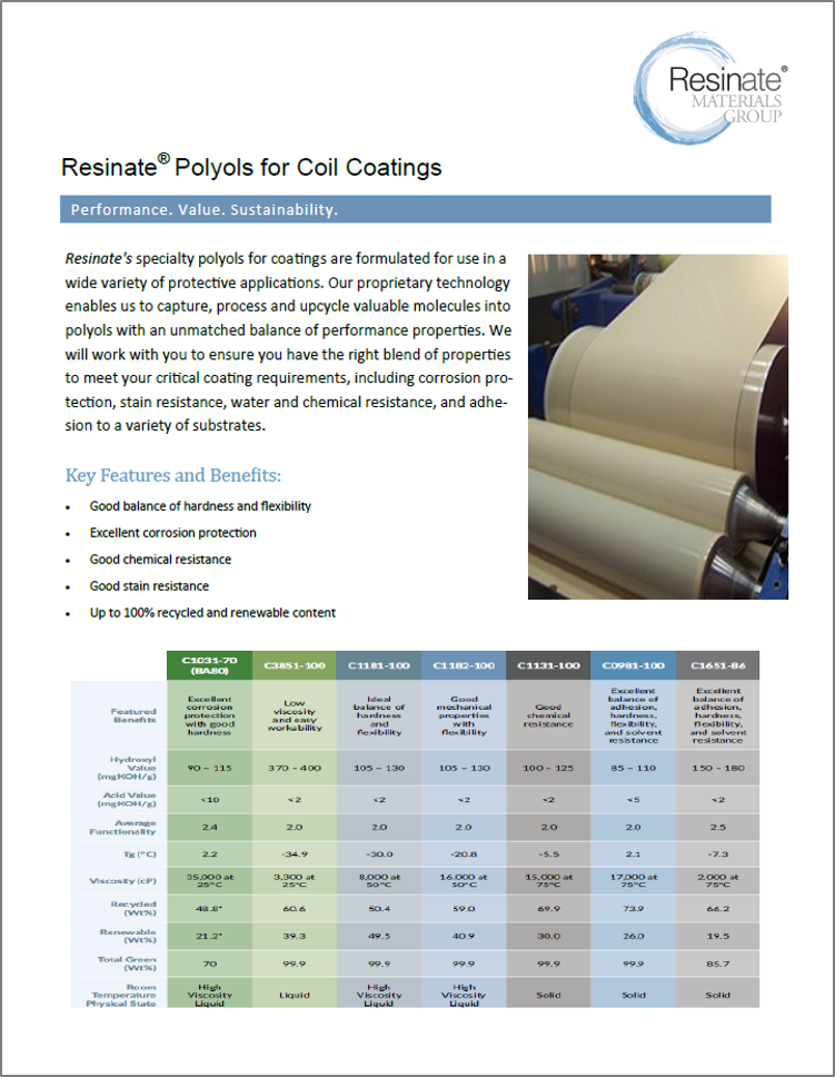 Sell Sheets - The chemical industry has a complex audience, split between technical and business focus. While data sheets provide the technical specifications technical teams need, sell sheets provide more market-focused propositions that business teams want. We created sell sheets to compliment the data sheets for Resinate's key product lines. See them here.