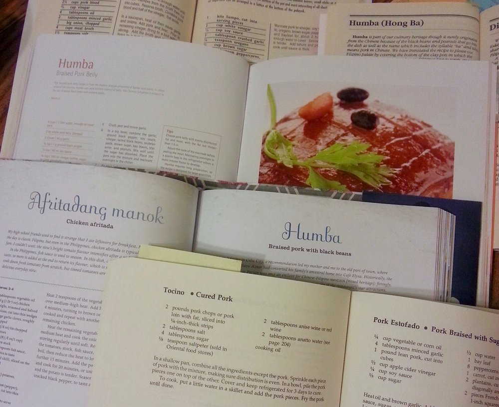 Of these five recipes for humba from five different cookbooks, none have exactly the same ingredients. Ditto for each recipe's procedure!
