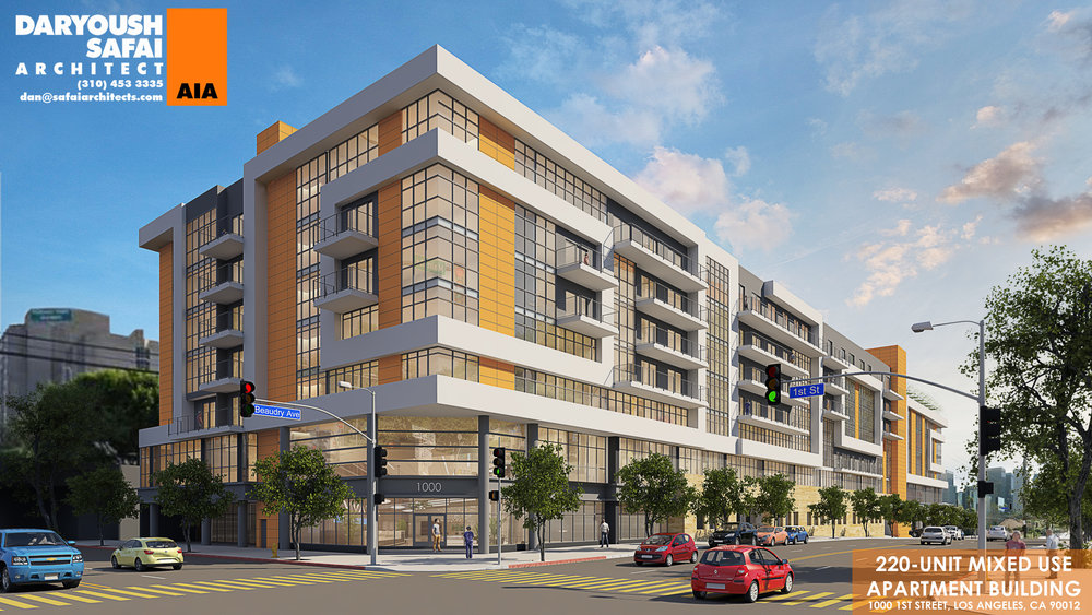 Proposed City West Apartments Unveiled - First glimpse of mixed-use development planned at 1st Street and Beaudry Avenue.