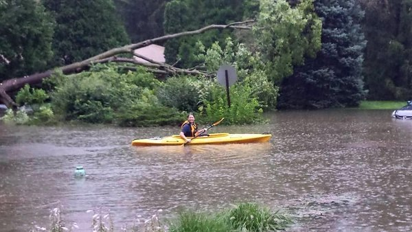 A    @WTHRcom    viewer KAYAKING on 79th & Allisonville RESCUED a dog in a stranded car last July!