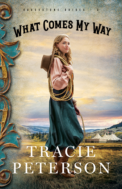 - Only while trick riding can Ella Fleming forget the truth about who she really is—the daughter of a murderer. Phillip DeShazer buries the guilt he feels for his father's death in work and drink, and his guilt continues to grow the more Ella Fleming comes to his rescue. Will they be able to overcome their pasts and trust God to guide their futures?What Comes My Way by Tracie PetersonBROOKSTONE BRIDES #3COMING OCTOBER 2019