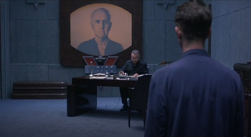 """Richard Burton and John Hurt in  Nineteen Eighty-Four  (1984). Of Burton, Radford said, """"He really didn't have any psychological input into his characters, he just had this fantastic voice, which he could modulate. He could read a telephone directory and make it sound like Shakespeare."""""""