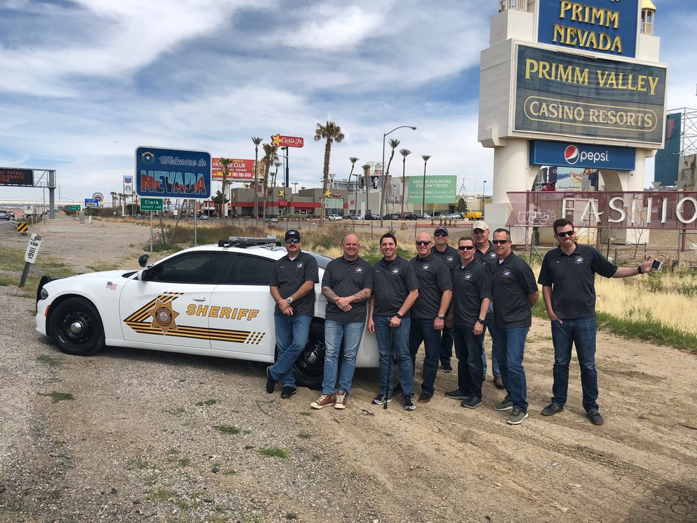 The 2018 Cannonball Memorial Run crew posing with our escort to the California/Nevada state line…Courtesy of San Bernardino County Sheriff's Department and their brand new Dodge Charger.