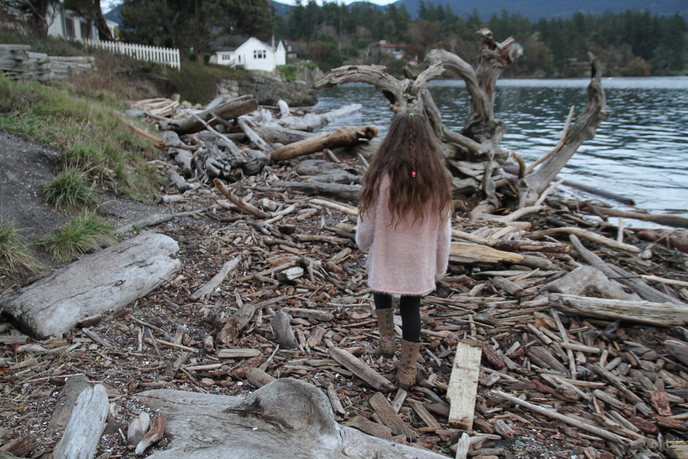 Isabella Walking Through the Mounds of Driftwood Left From the Last Storm. Photo by Gray G.