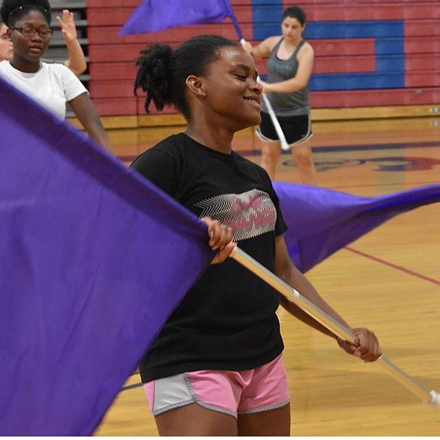 REMINDER!! Colorguard auditions start tomorrow after school in the band room until 5pm. You don't wanna miss out!! Despite the look on her face, Tatiana is definitely having fun in this picture so you will too!! If you have any concerns make sure to contact us.