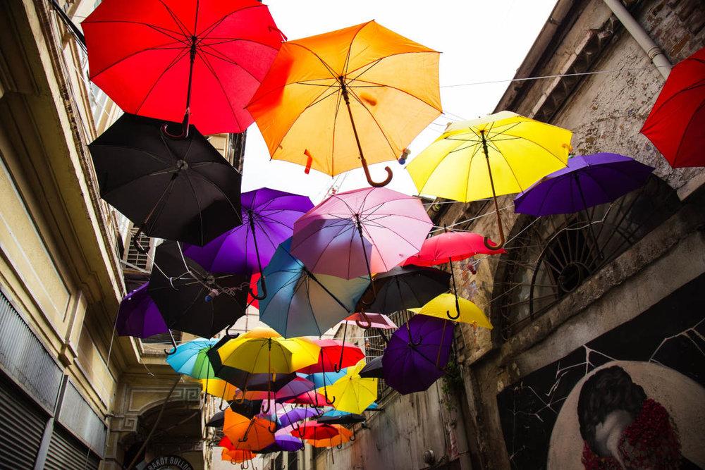 Umbrellas in alley