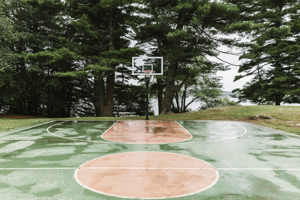 Basketball field in the rain