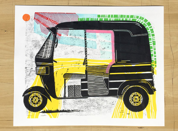 Linocut with Trace Monotype   by Boarding all rows (2019)