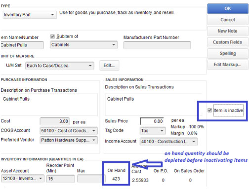 Item Inactivated while quantity on-hand has balance vector business solutions example.jpg