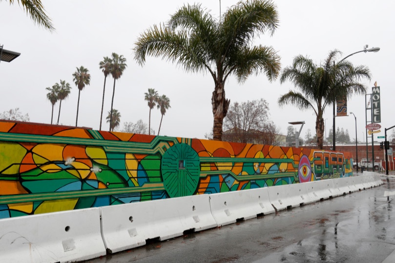 SoFA District construction wall shows off provocative mural - by Sal PizarroThe Mercury NewsJanuary 9, 2018