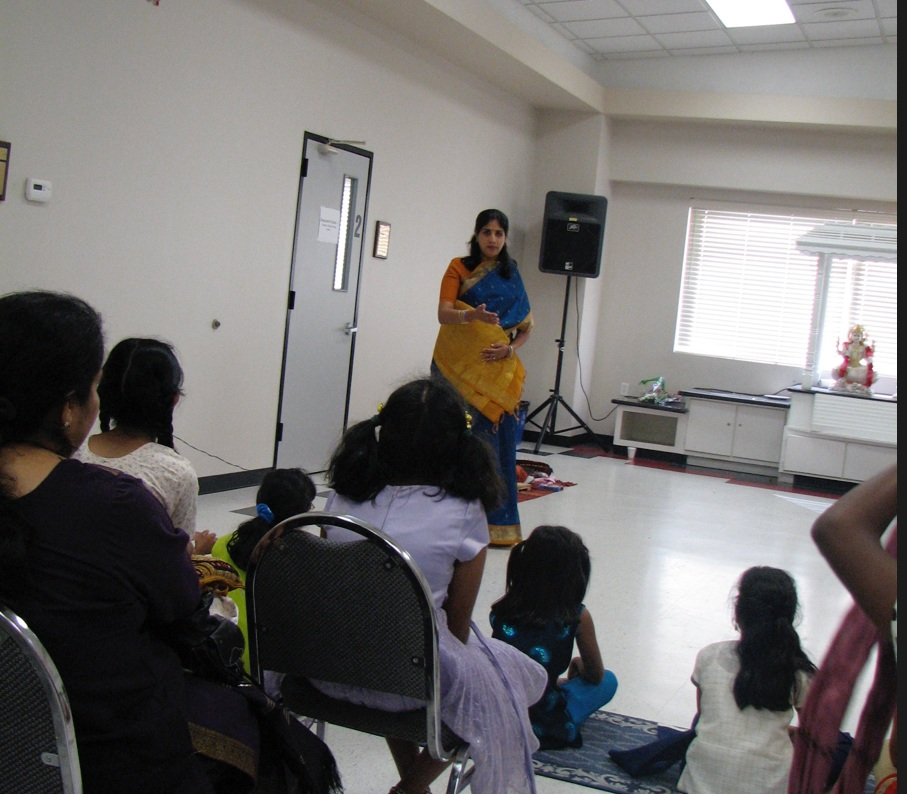 Lavanya addresses a parent-teacher open house in October 2007, a few days before the birth of her first child.