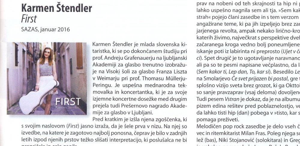 """Kritika albuma First - Tomaž gržeta, JULIJ 2016, Glasbena revija """"GLASNA"""""""