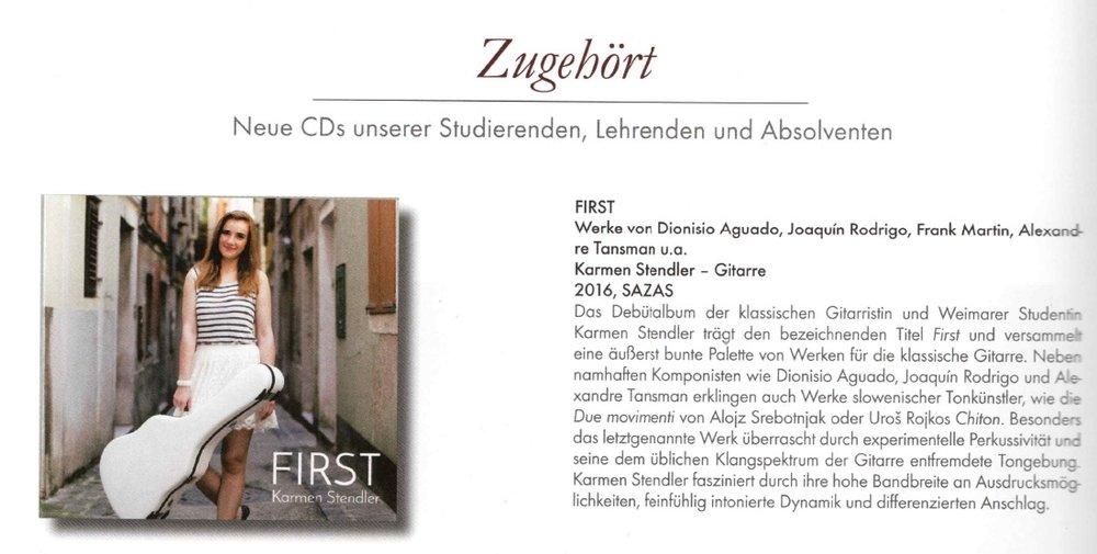 """Rezension des Albums """"First"""" - 31.08.2016, """"LiSZT"""" MAGAZIN"""