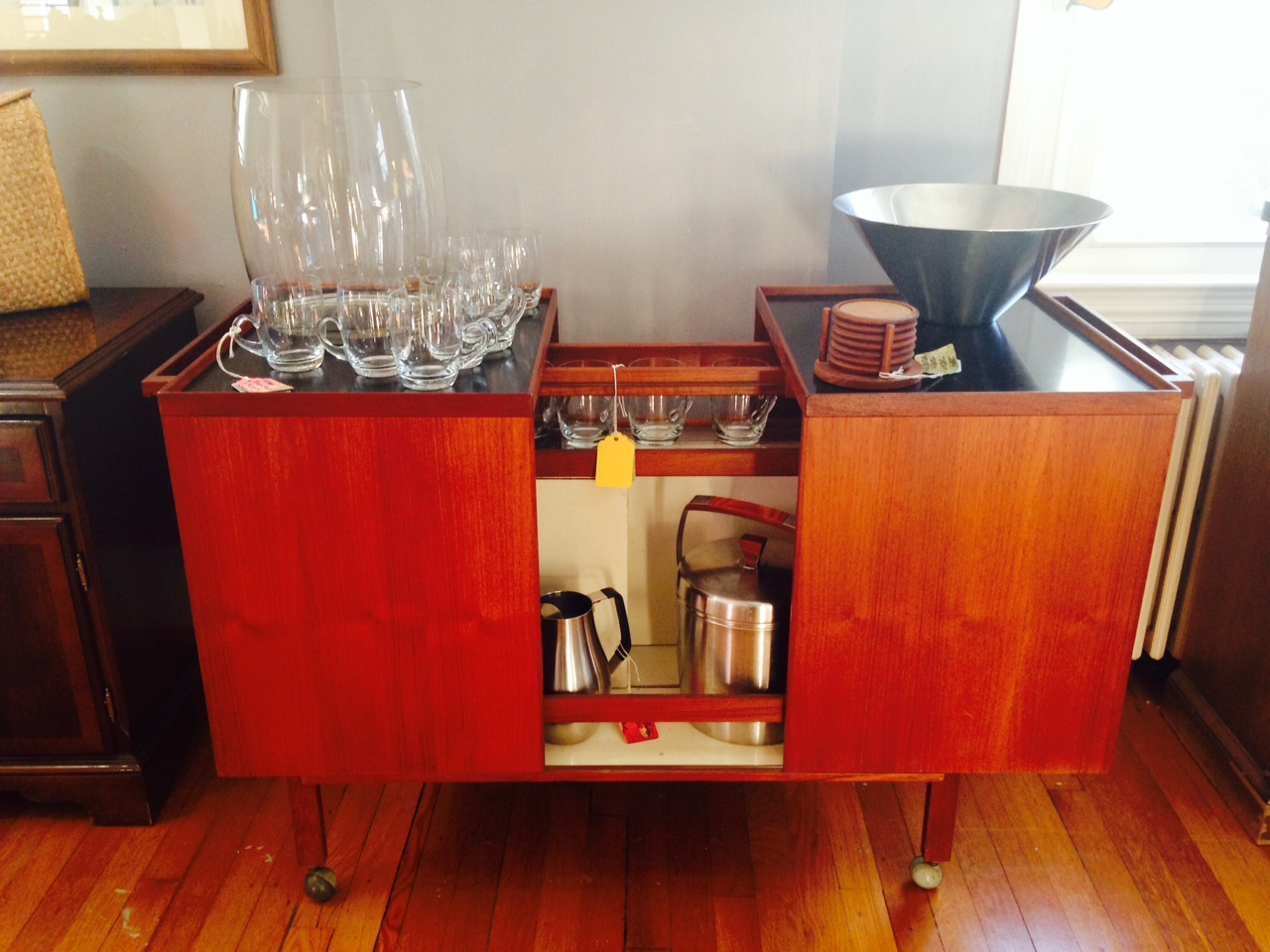 great mid century modern entertainment bar from our partners Barefoot Dwelling.
