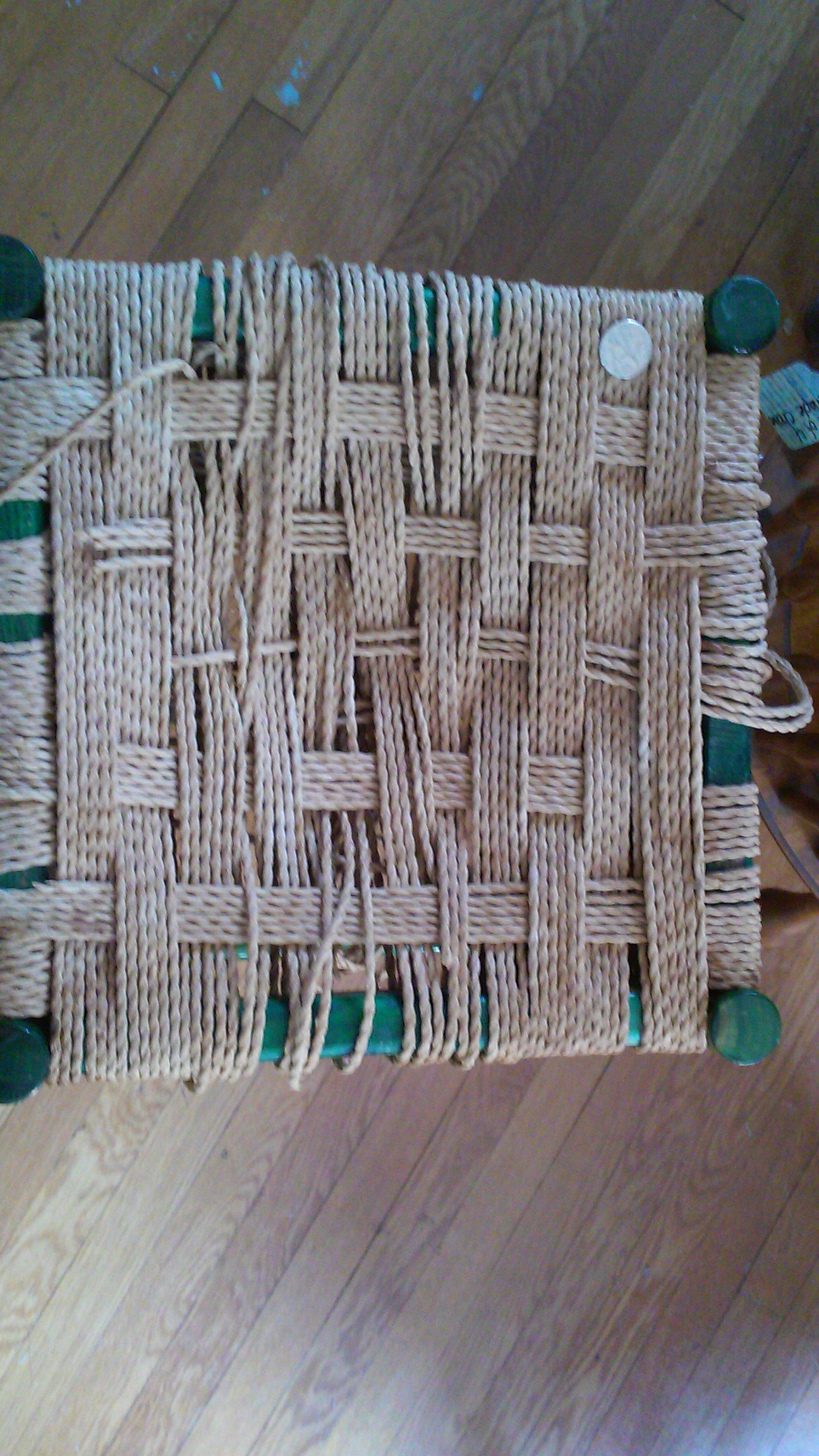 Danish Cord stool that has come unraveled