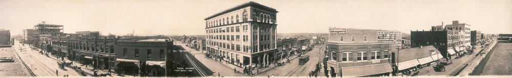 Panorama of Tulsa, 1909 (Wikipedia Commons. Jack, Clarence, copyright claimant [Public domain])