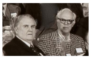 John Shaw with Martin Gardner at the 1977 B.S.I. dinner. (© bsitrust.org, 1977)