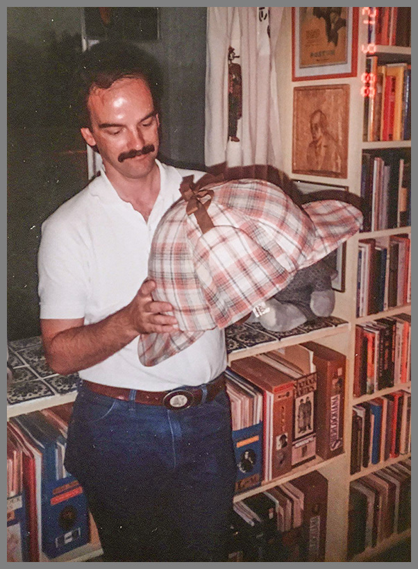 Steve Robinson with a unique item in the Shaw Library, (1991).