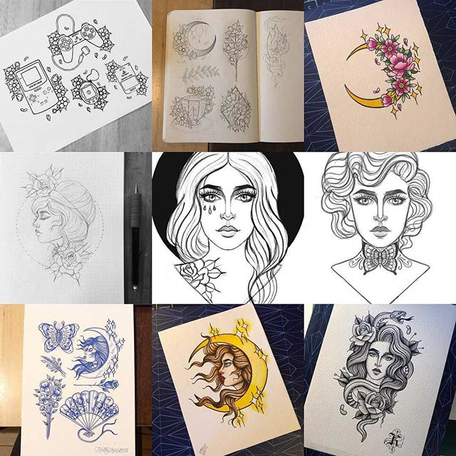 Top 9! #sketchbook #illustration #tattoo #flowers #cherryblossom #traditional #floral #design #baronfigvanguard #baronfig #tattooflash #flash #girlhead #moon #butterfly