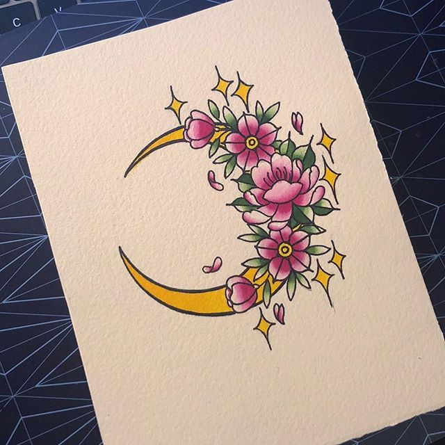 Little painting I did a while ago 😊 #sketchbook #illustration #tattoo #flowers #cherryblossom #traditional #floral #design #baronfig #tattooflash #flash #teacup #floral #bulletjournal #moon
