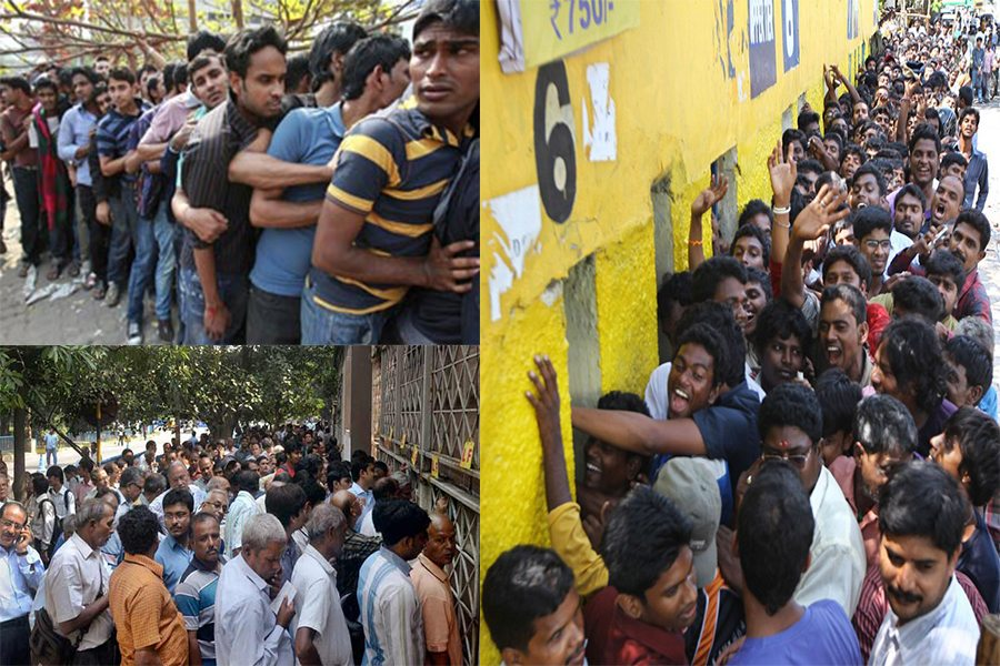 A Collage of sample queues in India - Images from various internet resources