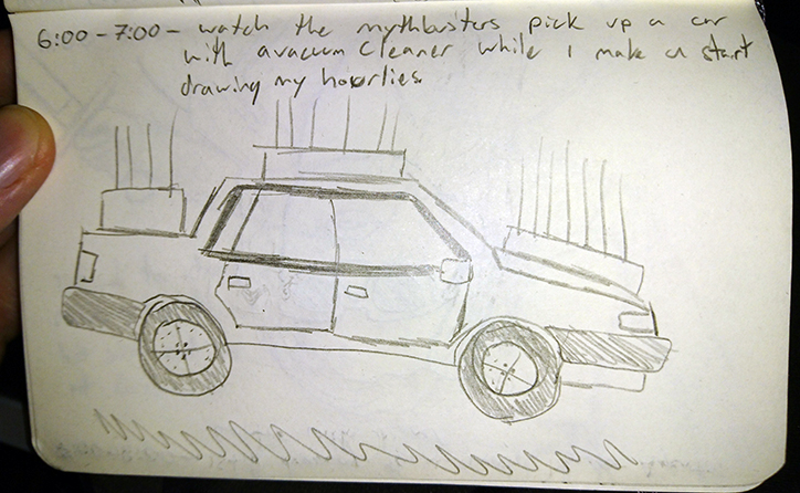 6:00 - 7:00 -  Watch the Mythbusters pick up a car with a vacuum cleaner while I make a start drawing my hourlies.