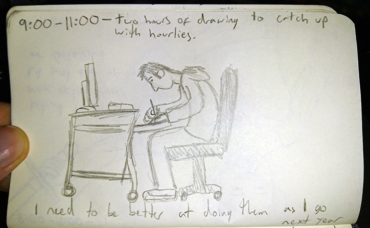 9:00 - 11:00 -  Two hours of drawing to catch up with hourlies. I need to be better at drawing them as I go next year.