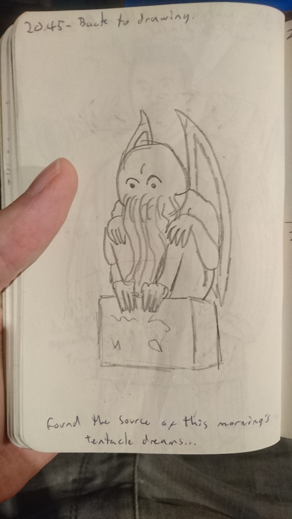 20:45:  Back to drawing. Found the source of this morning's tentacle dreams...