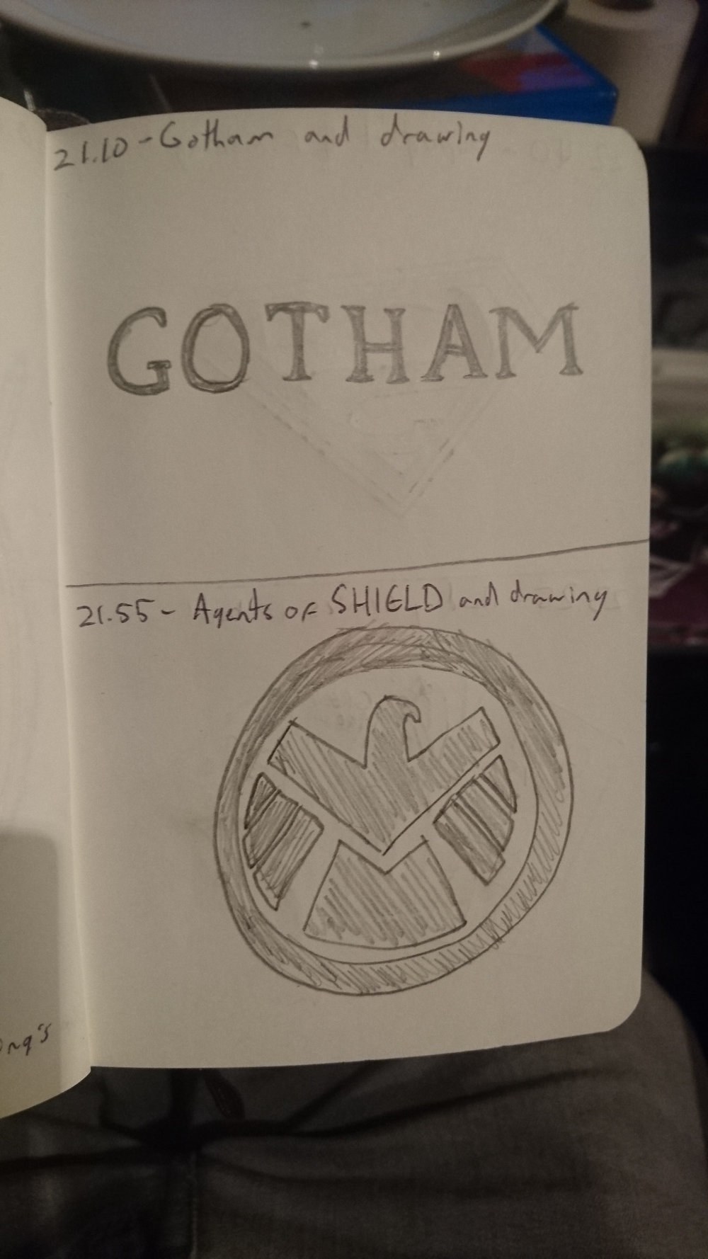 21:10:  Gotham and drawing  21:55:  Agents of SHIELD and drawing